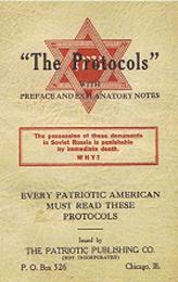 Bogen »Zions Vises Protokoller« er et falskneri, men som denne forside fra en amerikansk udgave viser, hævder bogen selv, at den afslører hemmelige dokumenter, der beviser dens konspirations-teori.