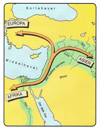 En af oldtidens vigtigste hovedveje gik gennem den vestlige del af den såkaldte Frugtbare Halvmåne. Det er denne vej, Esajas profeterer om. (Kortet er fra Bibelkortbogen, side 14, Lohse)